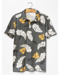 Gap Lived-In Soft Floral Polo gray - Lyst