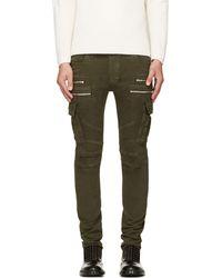 Balmain Khaki Skinny Cargo Pants - Lyst