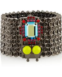 Mawi - Hematiteplated Crystal and Bead Honeycomb Bracelet - Lyst