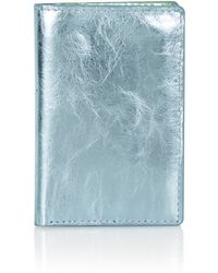 Topshop Metallic Leather Oyster Card Holder  Blue - Lyst