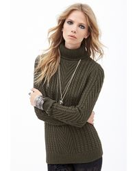 Forever 21 Cable Knit Turtleneck Sweater - Lyst