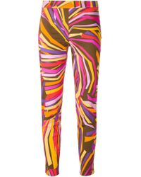 Emilio Pucci Printed Skinny Fit Trousers - Lyst