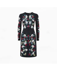 Erdem Evita Dress Hibiya Navy blue - Lyst