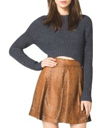 Michael Kors Cropped Knit Sweater - Lyst