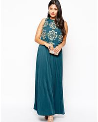 Asos Curve Exclusive Red Carpet Maxi Dress With Pleated Skirt & Jewelled Bodice - Lyst