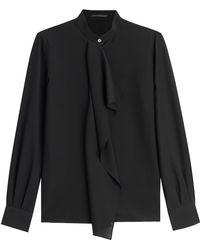 Agnona Ruffle Front Silk Blouse black - Lyst