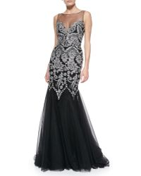 Badgley Mischka Collection Sleeveless Embroidered Top Mermaid Gown - Lyst