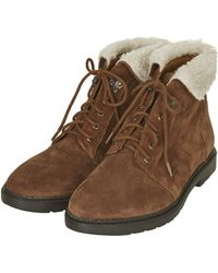 Topshop Brody Faux Fur Collar Boots - Lyst