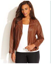 Calvin Klein Plus Size Fauxleather Moto Jacket - Lyst
