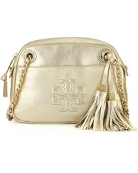 Tory Burch Thea Pebbled Crossbody Bag Light Gold - Lyst