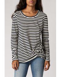 Stateside Navy Stripe L/S Twist Tee black - Lyst