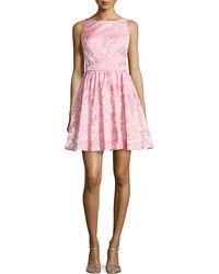 Aidan Mattox Sleeveless Floral Jacquard Party Dress pink - Lyst