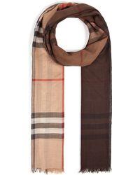 Burberry Wool-Silk Tartan Scarf - Lyst