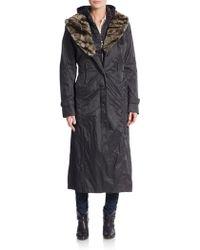 Creenstone - Full-length Faux Fur-trimmed Coat - Lyst
