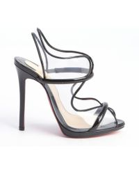 Christian Louboutin Black Patent Leather and Pvc Aqua Ronda Sandals - Lyst