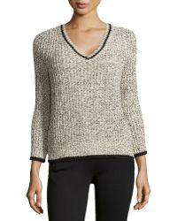 Halston Heritage V-neck Cable Knit Sweater - Lyst