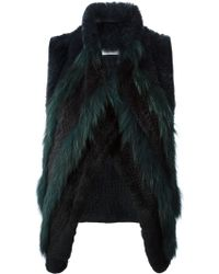 Yves Salomon Green Panelled Gilet - Lyst