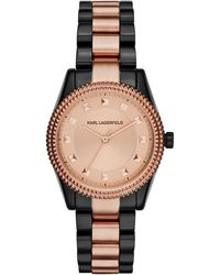 Karl Lagerfeld Womens Petite Stud Two-tone Stainless Steel Bracelet Watch 34mm - Lyst