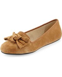 Ugg Alloway Stud-bow Suede Flat - Lyst