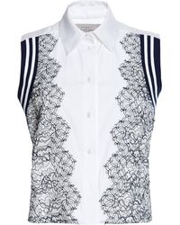 Preen Cotton Shirting and Lace Trevor Shirt in White and Navy - Lyst