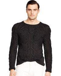 Ralph Lauren Black Label Hand-Knit Cabled Linen Sweater - Lyst