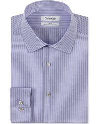 Calvin Klein Steel Non-iron Slim-fit Lavender Stripe Performance Dress Shirt - Lyst