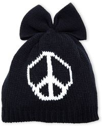Betsey Johnson Black Peace Out Knit Beanie - Lyst