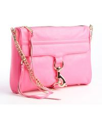 Rebecca Minkoff Neon Pink Leather Mac Convertible Clutch - Lyst