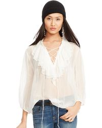 Polo Ralph Lauren Ruffled Lace-Up Blouse - Lyst
