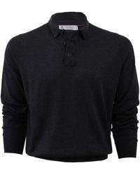 Brunello Cucinelli Fine Guage Polo Shirt gray - Lyst