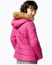 Krush - Faux-fur-hood Puffer Jacket - Lyst