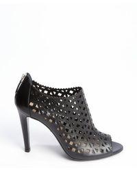 Prada Black Leather Cutout Detail Peep Toe Ankle Booties - Lyst