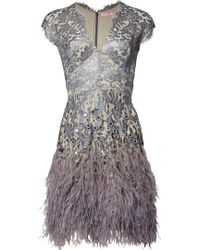 Matthew Williamson | Silver Lacquer Lace Feather Dress | Lyst