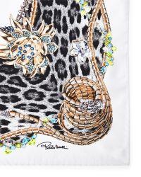 Roberto Cavalli Bejeweled Animal Print Silk Scarf - Lyst