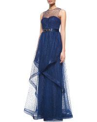 Rickie Freeman for Teri Jon Sleeveless Flocked Lace Illusion Gown - Lyst