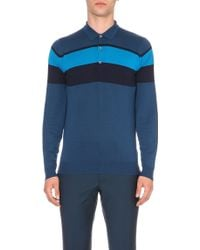 John Smedley Pelton Striped Long-Sleeved Polo Shirt - For Men - Lyst