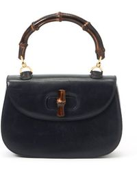 Gucci Pre-Owned Bamboo Handbag blue - Lyst