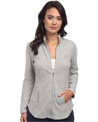 Lauren by Ralph Lauren Lounge Jacket with Quilted Sleeves - Lyst