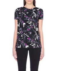 Hugo Boss Cowl Neck Abstract-Print Jersey Top - Lyst
