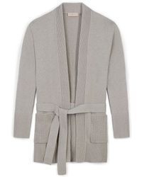 Tory Burch Cotton-Cashmere Drape-Front Cardigan - Lyst