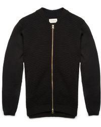 Oliver Spencer Black Ripple Stitch Zip Crew Sweater black - Lyst