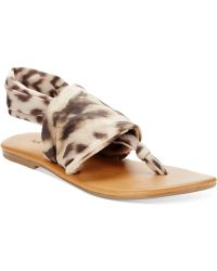 Rampage Taxi Flat Thong Sandals animal - Lyst