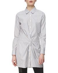Thakoon Addition Long-Sleeve Cross-Front Cotton Shirtdress - Lyst