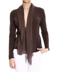 Manila Grace Sweater Knit Cardigan With Scarf - Lyst