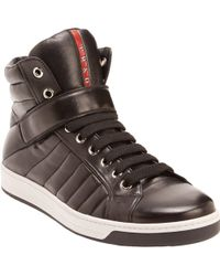 Prada Linea Rossa Quilted Leather Hightop Sneakers - Lyst