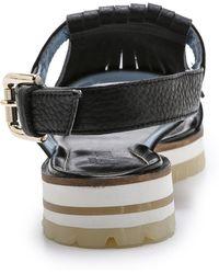 Studio Pollini - Fringe Flat Sandals - Black - Lyst