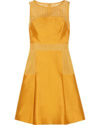Lela Rose Satin and Lace Dress - Lyst