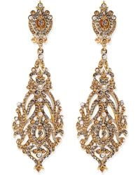 Jose & Maria Barrera Champagne Crystal Clip-On Earrings gold - Lyst