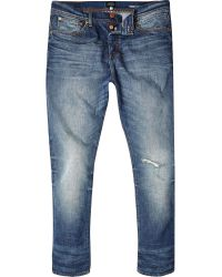 River Island Light Wash Chester Tapered Skinny Jeans - Lyst