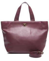 Chanel Preowned Burgundy Lambskin Cerf Tote Bag - Lyst
